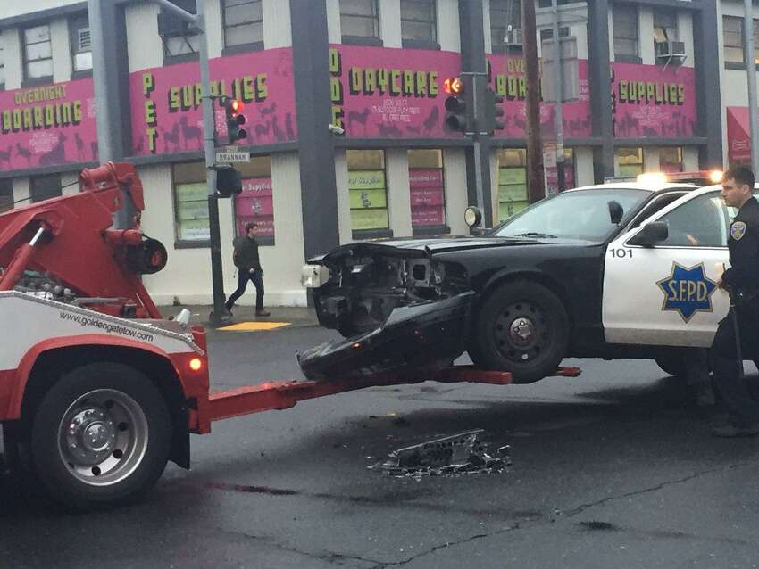 A police car was involved in a collision in San Francisco's South of Market neighborhood Monday night, causing minor injuries to two officers.