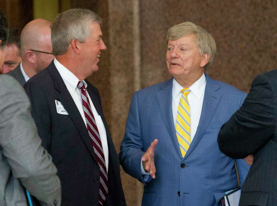 Houston defensive attorney Rusty Hardin is seen here with Montgomery County Judge Craig Doyal following a hearing with the State Commission on Judicial Conduct in July. Photo: Jason Fochtman, Staff Photographer / © 2017 Houston Chronicle