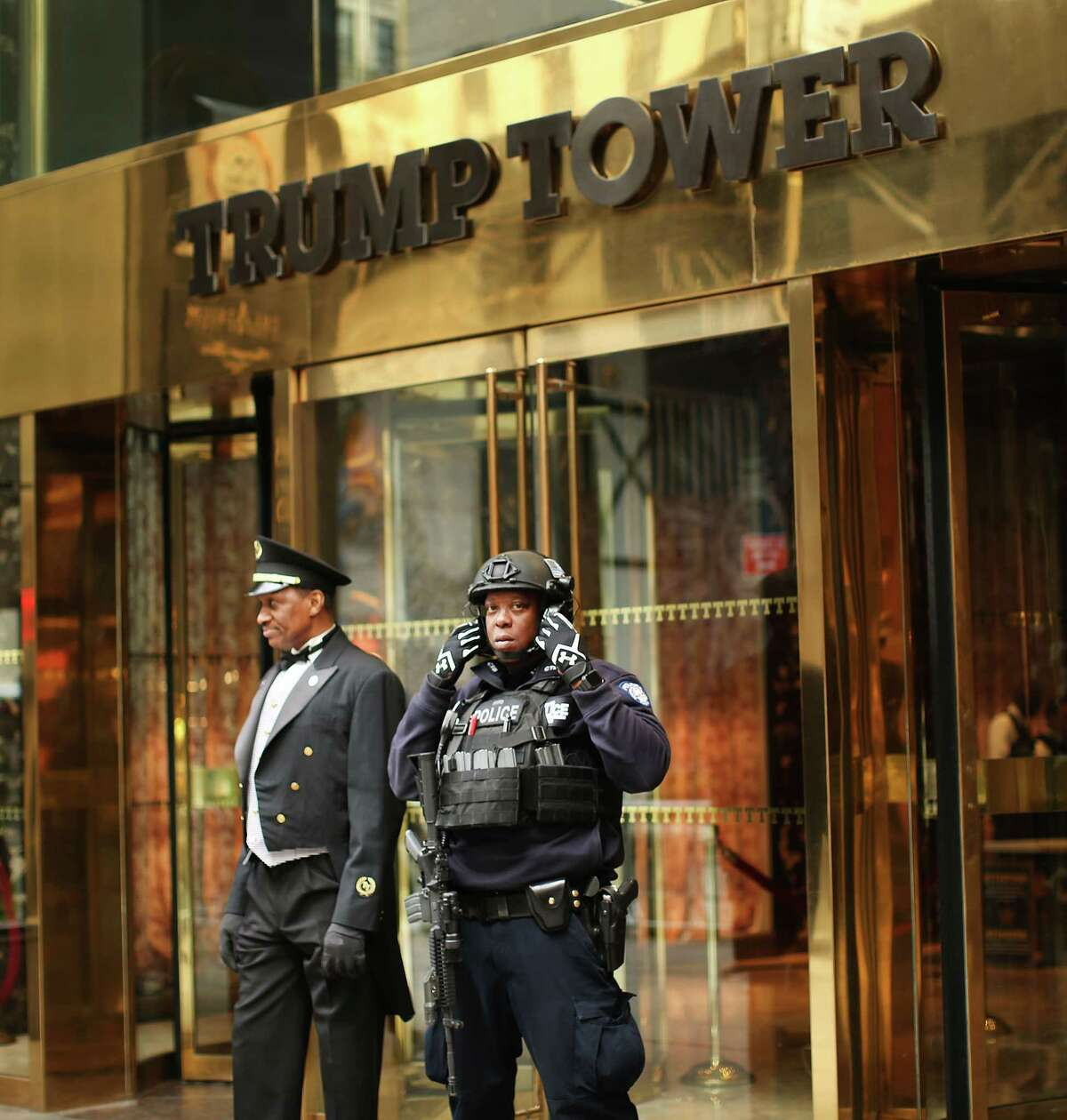 NEW YORK, NY - MARCH 20: A counter terrorism officer stands in front of Trump Tower in Manhattan on March 20, 2017 in New York City. Senate Minority Leader Chuck Schumer has been voicing criticism of President Donald Trump's proposed budget that could cut as much as $190 million from New York City efforts to fight terrorism. Following two major terrorist attacks and numerous foiled plots, New York City is considered the nation's prime target for terrorists. The NYPD has stated that it costs $500,000 a day to pay for the nearly 200 police officers in and around Trump Tower on Fifth Ave. (Photo by Spencer Platt/Getty Images) ORG XMIT: 700022535