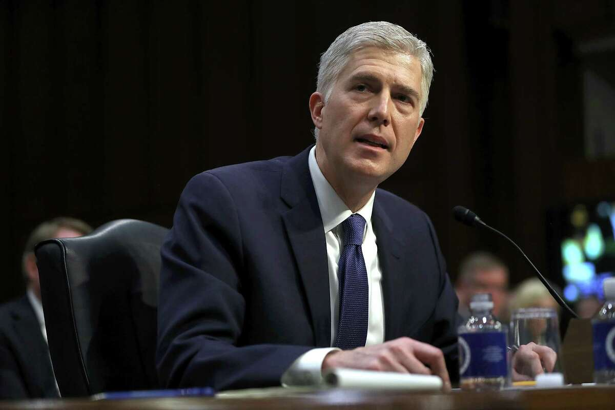 WASHINGTON, DC - MARCH 20: Judge Neil Gorsuch speaks during the first day of his Supreme Court confirmation hearing before the Senate Judiciary Committee in the Hart Senate Office Building on Capitol Hill March 20, 2017 in Washington, DC. Gorsuch was nominated by President Donald Trump to fill the vacancy left on the court by the February 2016 death of Associate Justice Antonin Scalia. (Photo by Justin Sullivan/Getty Images) ORG XMIT: 700003762