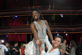Houston native and Olympic champion Simone Biles is partnered with Saha Farber on Dancing with the Stars.