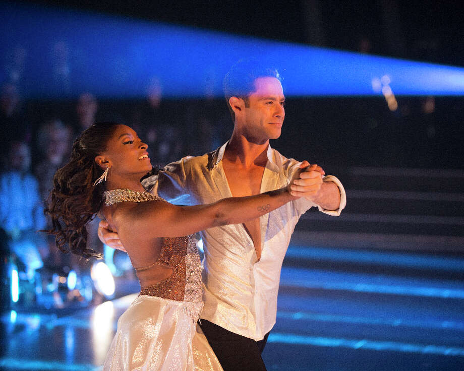 Houston native and Olympic champion Simone Biles is partnered with Saha Farber on Dancing with the Stars. Photo: ABC/Eric McCandless / © 2017 American Broadcasting Companies, Inc. All rights reserved.