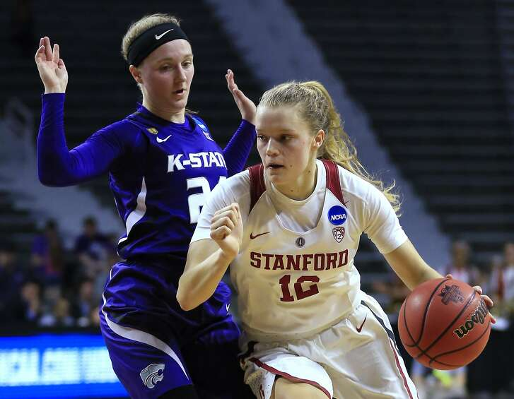 Stanford guard Brittany McPhee (12) drives on Kansas State guard Kindred Wesemann during the first half of a second-round game in the NCAA women's college basketball tournament in Manhattan, Kan., Monday, March 20, 2017. (AP Photo/Orlin Wagner)