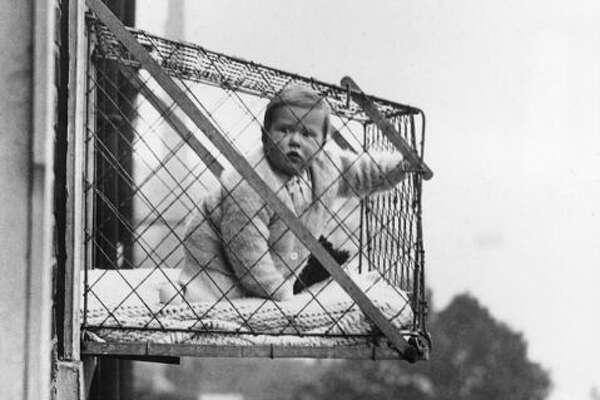 1930s: Baby Cages   The line of thinking about babies needing outdoor exposure continued into the 1930s, when these frightening home accessories made their debut. Roughly the size of an in-window air conditioner, these portable porches were designed to allow  city children in tall buildings  to get their recommended dose of fresh air and sunshine.