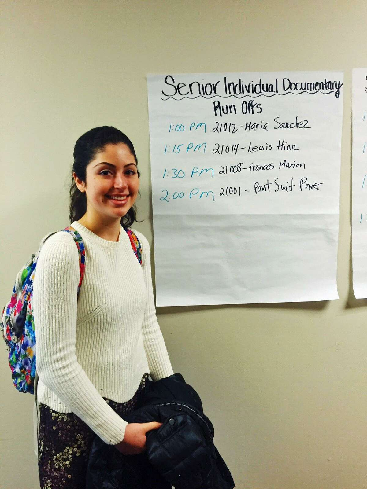 Greenwich High junior Kathryn Papas, an Innovation Lab student, scored second place for her individual documentary,