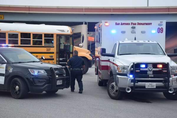 A San Antonio ISD school bus was involved in a three-car collision Tuesday in the city's East Side.