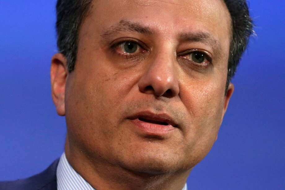 This file photo taken on November 15, 2016 shows US Attorney Southern District of New York Preet Bharara speaking at the Wall Street Journal CEO council annual meeting in Washington  Preet Bharara, a U.S. attorney for the Southern District of New York, said Saturday he was fired by President Trump after he refused to resign when asked by Attorney General Jeff Sessions. / AFP PHOTO / YURI GRIPAS/AFP/Getty Images