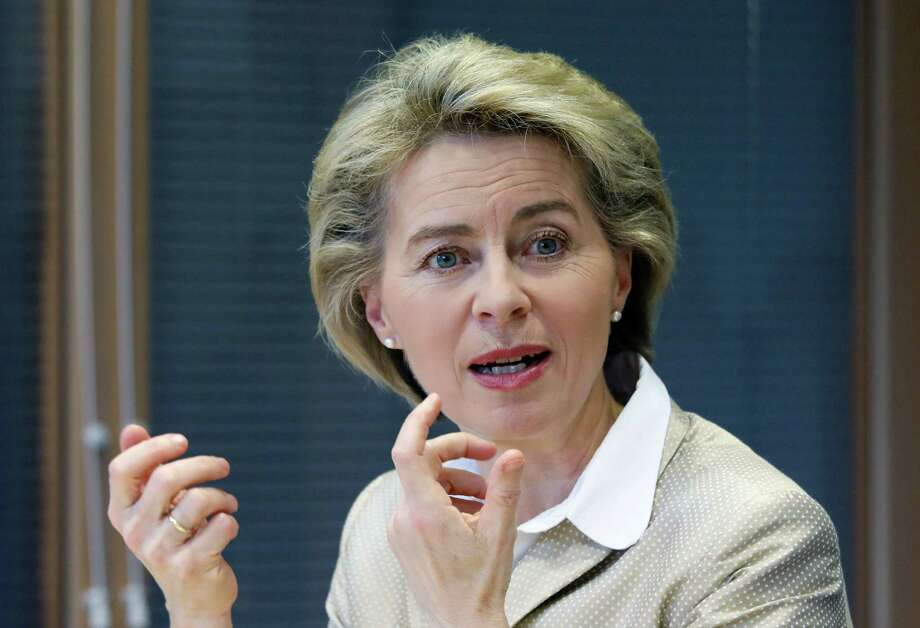 German Defence Minister Ursula von der Leyen gestures during a talk with journalists at AFP's office in Berlin on March 14, 2017. / AFP PHOTO / David GANNONDAVID GANNON/AFP/Getty Images Photo: DAVID GANNON, Staff / AFP/Getty Images / AFP or licensors