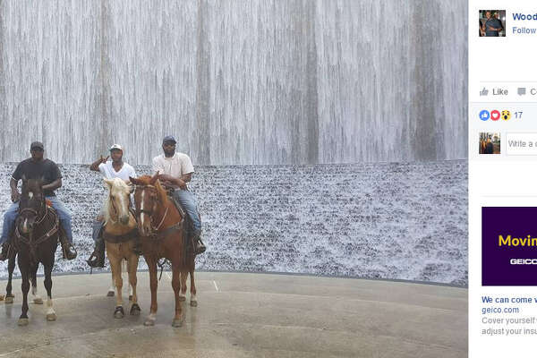 Woody Fields and two of his friends decided to ride into a Houston Walmart on their horses. Earlier during their ride, they rode around the Galleria area and gave rides to others. Source:  Facebook