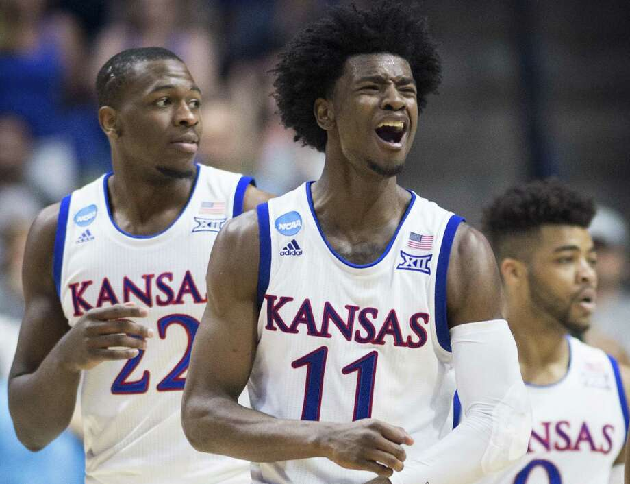 Kansas Jayhawks guard Josh Jackson (11) reacts to a foul call in the second half against Michigan State during a second round NCAA men's basketball tournament game on March 19, 2017 at the BOK Center in Tulsa, Okla. Photo: Shane Keyser /Kansas City Star / Kansas City Star
