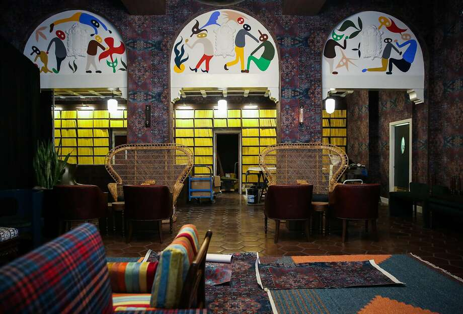 The lobby at the newly renovated Hotel Durant in Berkeley, on March 20. Photo: Gabrielle Lurie, The Chronicle