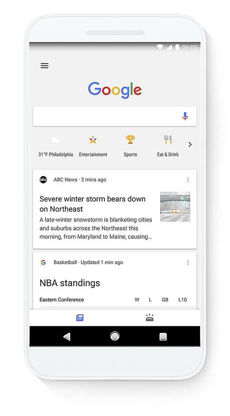 This image shows a screen grab of a smartphone demonstrating the use of a new search feature by Google called Shortcuts. Shortcuts are a new row of icons that appear below the Google search box that can be tapped so people can see the latest weather in the area, movie times, suggestions on places to eat or scores of their latest teams without typing anything into the search box. Photo: Google / Google