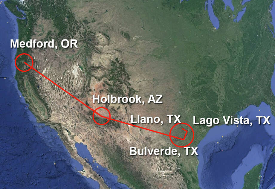 Federal authorities say Wayne Douglas Brunet, 64, transported 230 pounds of marijuana from Oregon to Texas in an airplane Sunday, March 19, 2017. Photo: Google Earth/SAEN