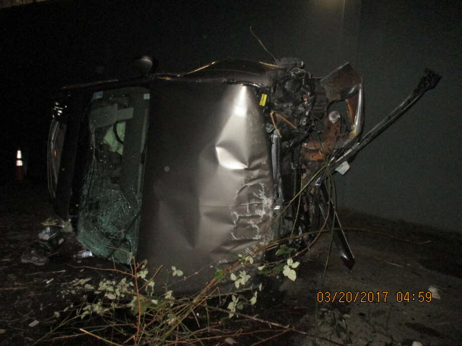 The State Patrol is looking for the driver who rammed into an SUV early Monday, causing it to plunge off Interstate 5 in Seattle. Photo: State Patrol