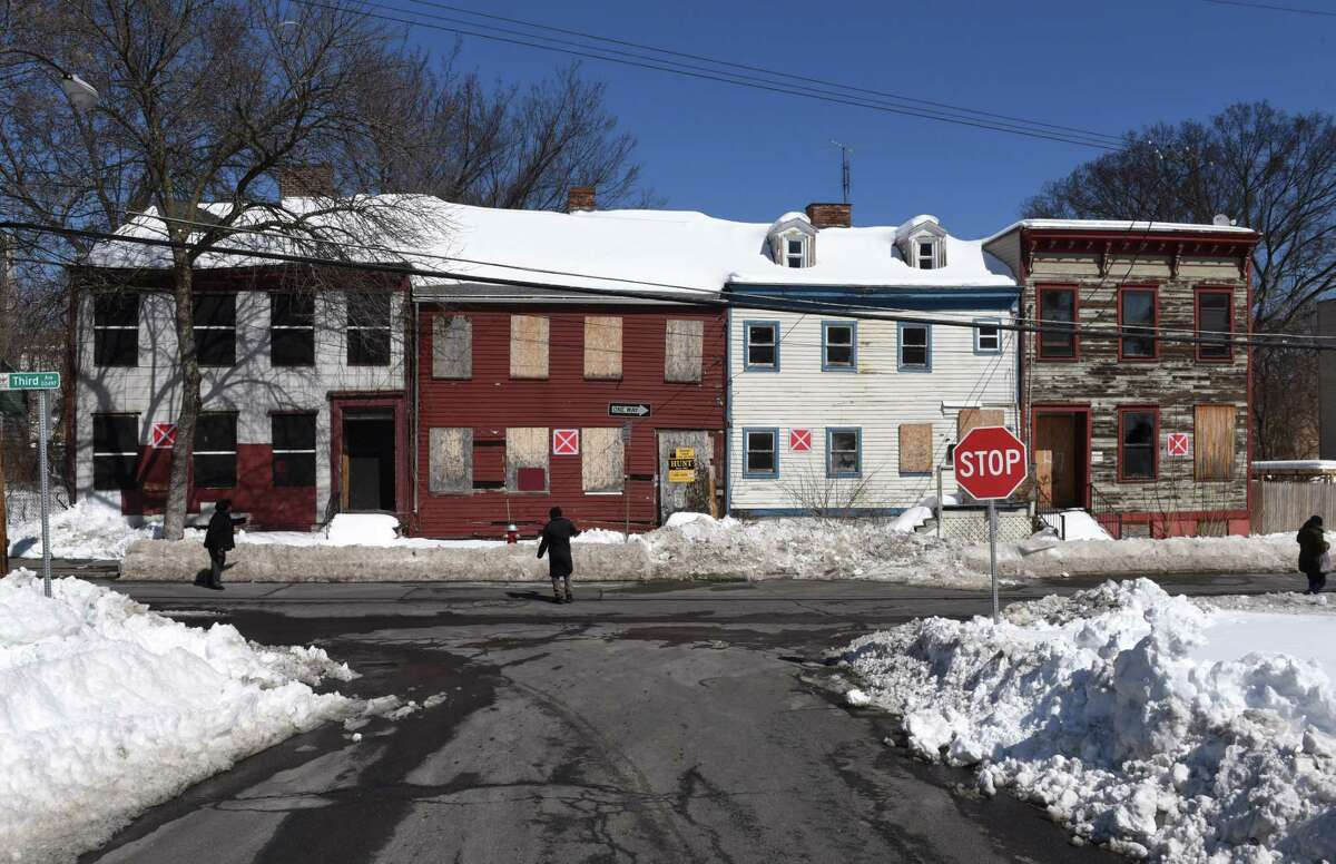 Third Ave. buildings that have been marked as vacant by the City of Albany on Friday, March 17, 2017, in Albany, N.Y. The markers are posted to help emergency personnel identify buildings that could present a safety risk if entered. (Will Waldron/Times Union)