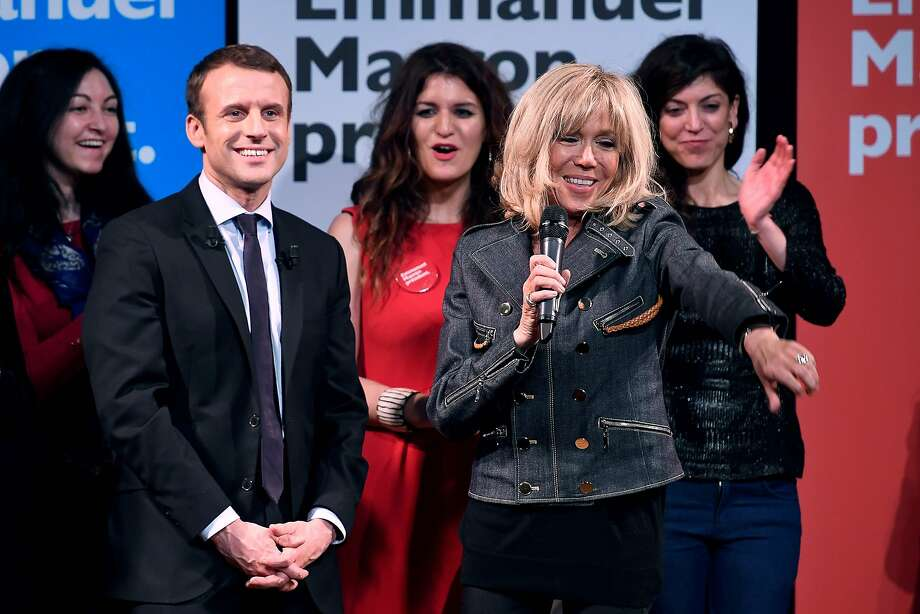 Brigitte Trogneux (right) attends a political event alongside her husband, presidential candidate Emmanuel Macron, in Paris. She is his former high school theater teacher. Photo: ERIC FEFERBERG, AFP/Getty Images