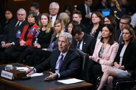 Neil M. Gorsuch testifies before the Senate Judiciary Committee on his nomination to be an associate justice of the US Supreme Court during a hearing in the Hart Senate Office Building in Washington, DC on March 21, 2017. / AFP PHOTO / Mandel NganMANDEL NGAN/AFP/Getty Images