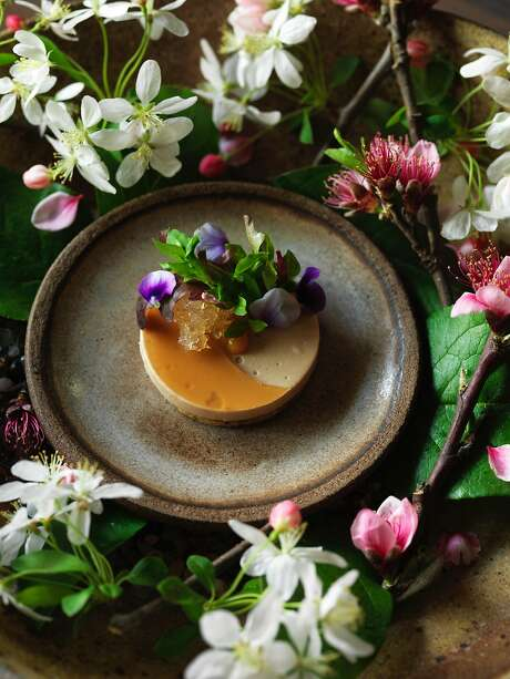 HEALDSBURG, CALIF - March 19, 2017: Foie gras with gelee of momo-shu (a peach wine we made with last year's green peaches), pickled peach blossoms, seeded sable', olive oil jam, and almond cream at SingleThread Farms in Healdsburg. PHOTO BY JOHN LEE Photo: John Lee, Special To The Chronicle