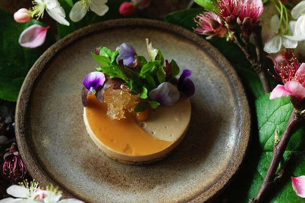 HEALDSBURG, CALIF - March 19, 2017: Foie gras with gelee of momo-shu (a peach wine we made with last year's green peaches), pickled peach blossoms, seeded sable', olive oil jam, and almond cream at SingleThread Farms in Healdsburg. PHOTO BY JOHN LEE