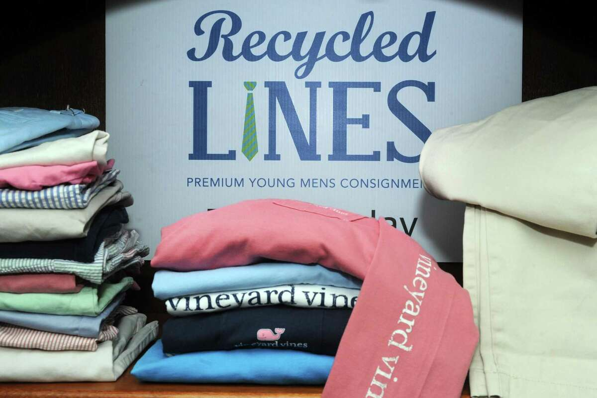 Cindy Sammarco and Liz Neugebauer, co-owners of Recycled Lines, LLC, a pop up premium brand young mens consignment shop in Fairfield, Conn. March 9, 2017.