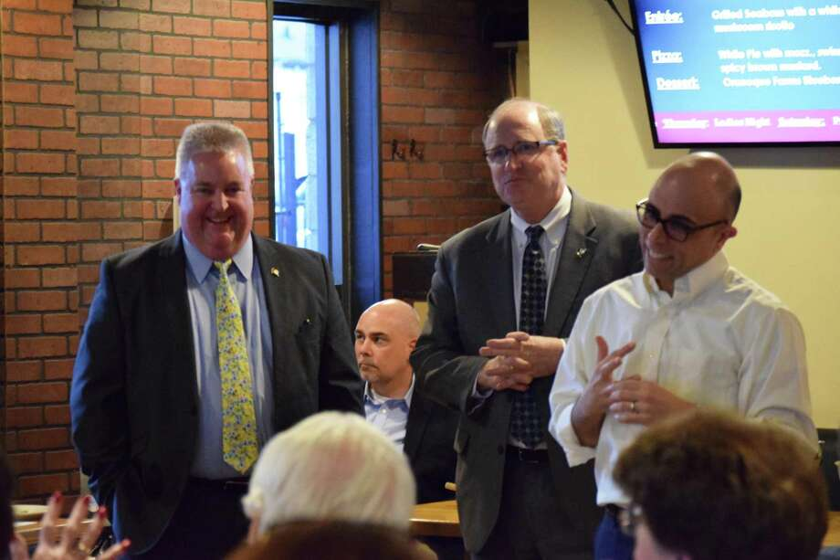 State Rep. Ben McGorty, State Sen. Kevin Kelly and State Rep. Jason Perillo discuss issues facing Connecticut during a March 20, 2017 legislative forum at Caloroso Eatery and Bar on Center Street, Shelton Photo: / Contributed Photo