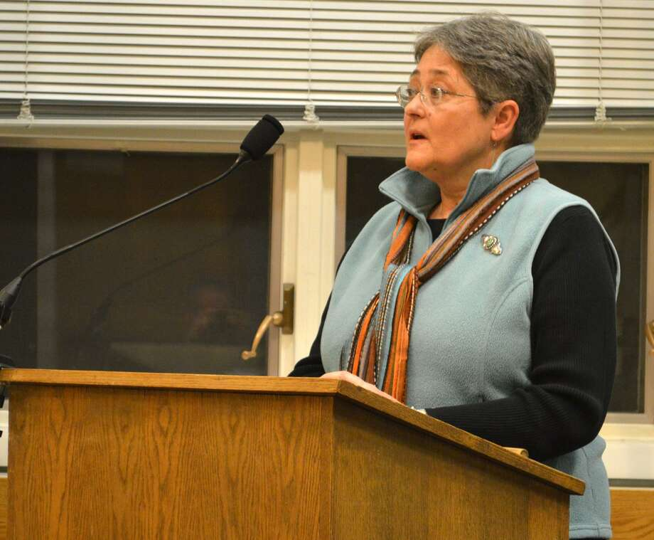 Susan Cameron, chairwoman of the Planning and Zoning Commission, spoke Monday in support of the Board of Selectmen's efforts to create more retail parking downtown. Photo: Jarret Liotta / Jarret Liotta / Darien News