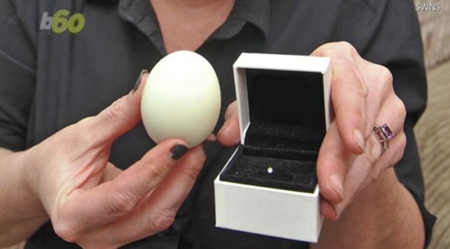 Sally Thomson claims she found a small diamond in her hard-boiled egg. Photo: Screenshot Via Buzz60/SWNS
