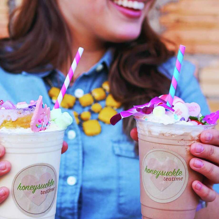 Milkshakes topped with tiny donuts, cotton candy and cookies are bringing all the sweet tooth San Antonians to the yard. honeysuckle teatime's social media pages give a taste of aesthetic they're working towards: eye-catching, pastel milkshakes that look as if they were made in some sort of fairy tale bakery. Photo: Courtesy, Honeysuckle Teatime