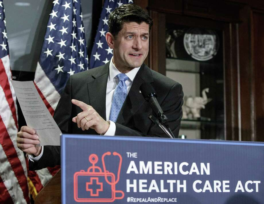 House Speaker Paul Ryan of Wis. speaks during a news conference at the Republican National Committee Headquarters on Capitol Hill in Washington. He was pitching a GOP repeal and replace bill that failed on both counts regarding the Affordable Care Act. Republicans said they will try again. Photo: J. Scott Applewhite /Associated Press / AP