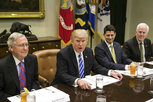 From left: Senate Majority Leader Mitch McConnell (R-Ky.), President Donald Trump, House Speaker Paul Ryan (R-Wis.) and Senate Majority Whip John Cornyn (R-Texas) during a lunch meeting in the Roosevelt Room of the White House on March 1. If the GOP health care plan fails, Trump may abandon Congress.