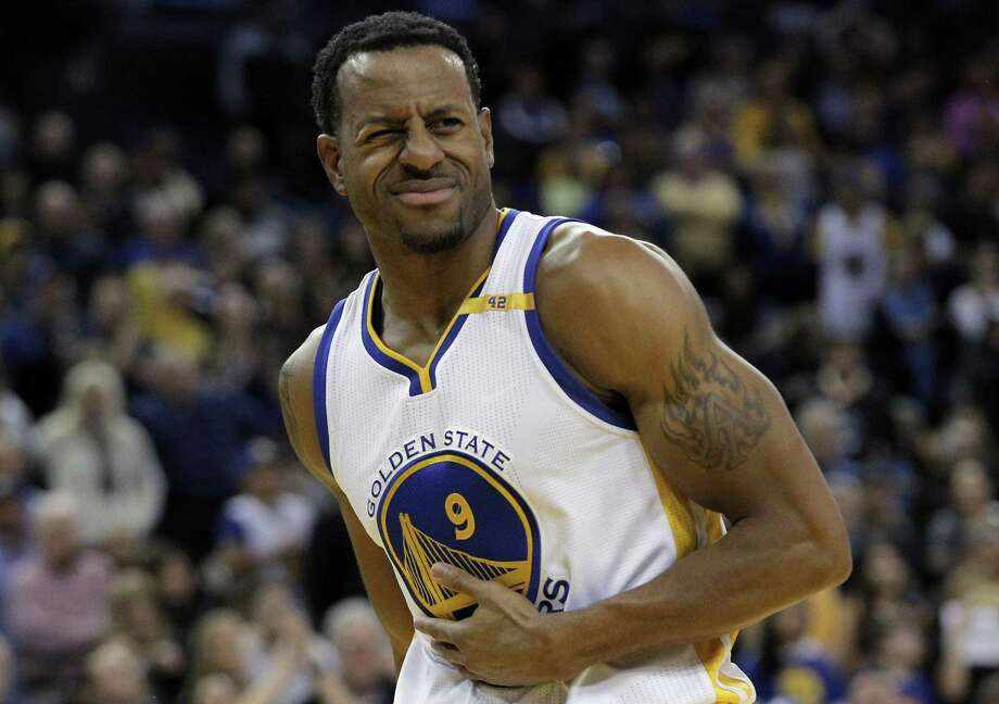 Andre Iguodala (9) plays up some hard contact to have a foul called in the second half as the Golden State Warriors played the Denver Nuggets at Oracle Arena in Oakland, Calif., on Monday, January 2, 2017. Photo: Carlos Avila Gonzalez / The Chronicle / Carlos Avila Gonzalez - San Francisco Chronicle