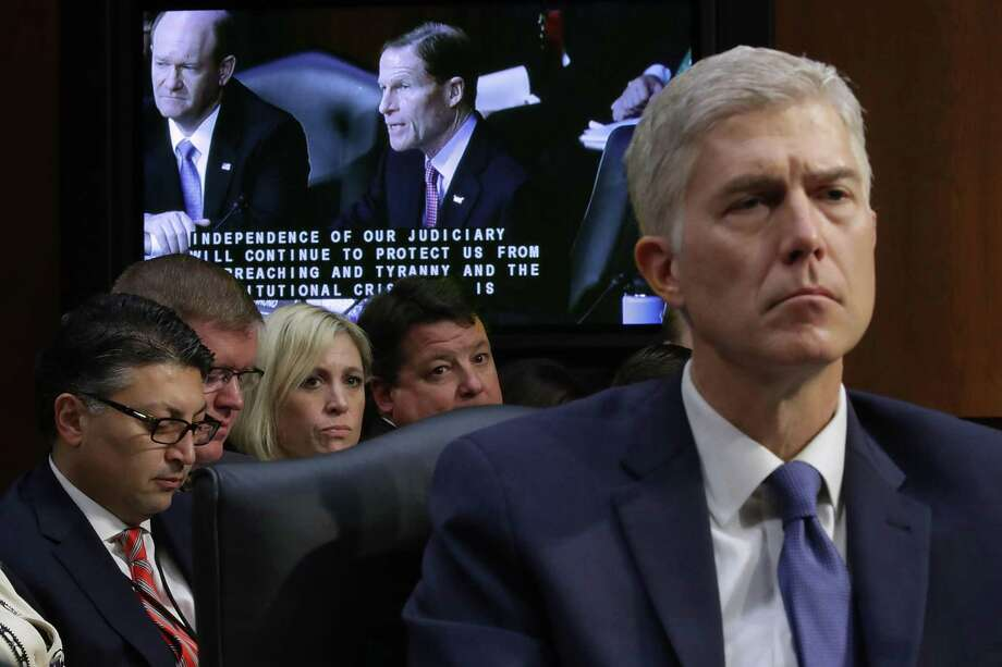 WASHINGTON, DC - MARCH 20: Judge Neil Gorsuch listens to Sen. Richard Blumenthal (D-CT) deliver opening remarks during the first day of Gorsuch's Supreme Court confirmation hearing before the Senate Judiciary Committee in the Hart Senate Office Building on Capitol Hill March 20, 2017 in Washington, DC. Gorsuch was nominated by President Donald Trump to fill the vacancy left on the court by the February 2016 death of Associate Justice Antonin Scalia. Photo: Chip Somodevilla / Getty Images / 2017 Getty Images