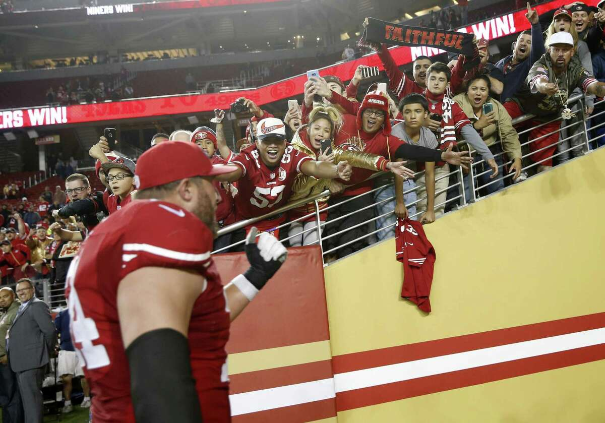 San Francisco 49ers' Joe Staley against Los Angeles Rams during NFL game at Levi's Stadium in Santa Clara, Calif., on Monday, September 12, 2016.