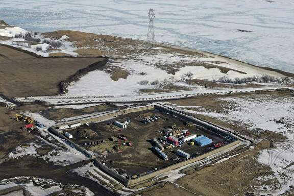 A photo last month shows the site where the final phase of the Dakota Access pipeline was constructed with boring equipment routing the pipeline underground and across Lake Oahe.