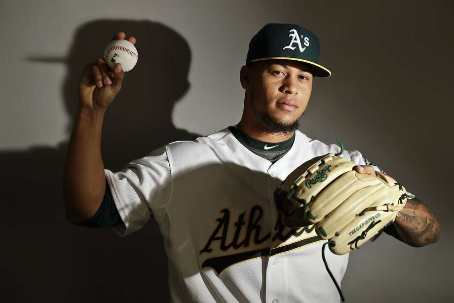 This is a 2017 photo of starting pitcher Frankie Montas of the Oakland Athletics baseball team poses for a portrait. This image reflects the Athletics active roster as of Wednesday, Feb. 22, 2017, when this image was taken. (AP Photo/Chris Carlson) Photo: Chris Carlson, Associated Press