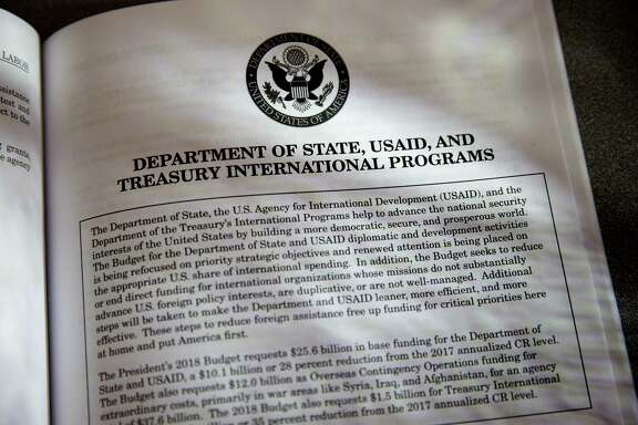 Proposals for the State Department in President Donald Trump's first budget are displayed at the Government Printing Office in Washington. (AP Photo/J. Scott Applewhite)