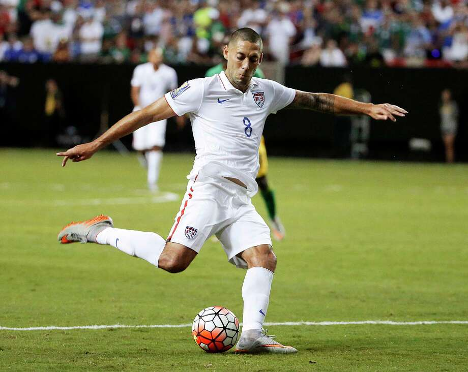 FILE - In this July 22, 2015, file photo, United States' Clint Dempsey shoots at goal during the second half of a CONCACAF Gold Cup semifinal soccer game against Jamaica in Atlanta. Dempsey, DaMarcus Beasley and Tim Howard have been around with Bruce Arena since the last time the U.S. coach guided the Americans into World Cup qualifying, way back 12 years ago. Now, these three will be counted upon to help lead the Americans in their World Cup qualifier Friday against Honduras in San Jose, California.  (AP Photo/David Goldman, File) ORG XMIT: NY171 Photo: David Goldman / Copyright 2017 The Associated Press. All rights reserved.