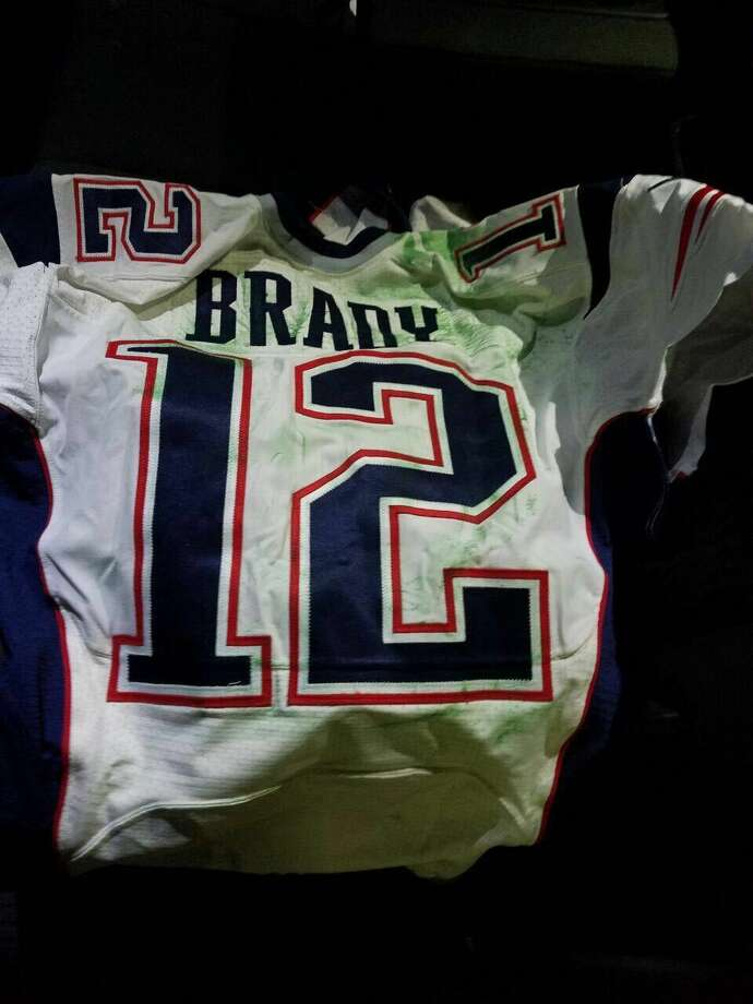 This photo released by MAGO on Tuesday, March 21, 2017 shows Tom Brady's Super Bowl LI jersey after it was recovered by authorities in Mexico City. Brady's jersey went missing from the locker room after the game, and immediately set off an investigation that stretched from Boston to the border. Working with U.S. investigators, Mexican authorities obtained a search warrant and recovered the jersey March 12, along with another Brady jersey that disappeared after the 2015 Super Bowl. The Mexican media executive suspected of stealing Brady's jersey went to the Super Bowl posing as a working journalist but spent the week collecting selfies and autographs from football greats and boasting to colleagues that he was there as a fan. (MAGO via AP ) Photo: HONS / MAGO