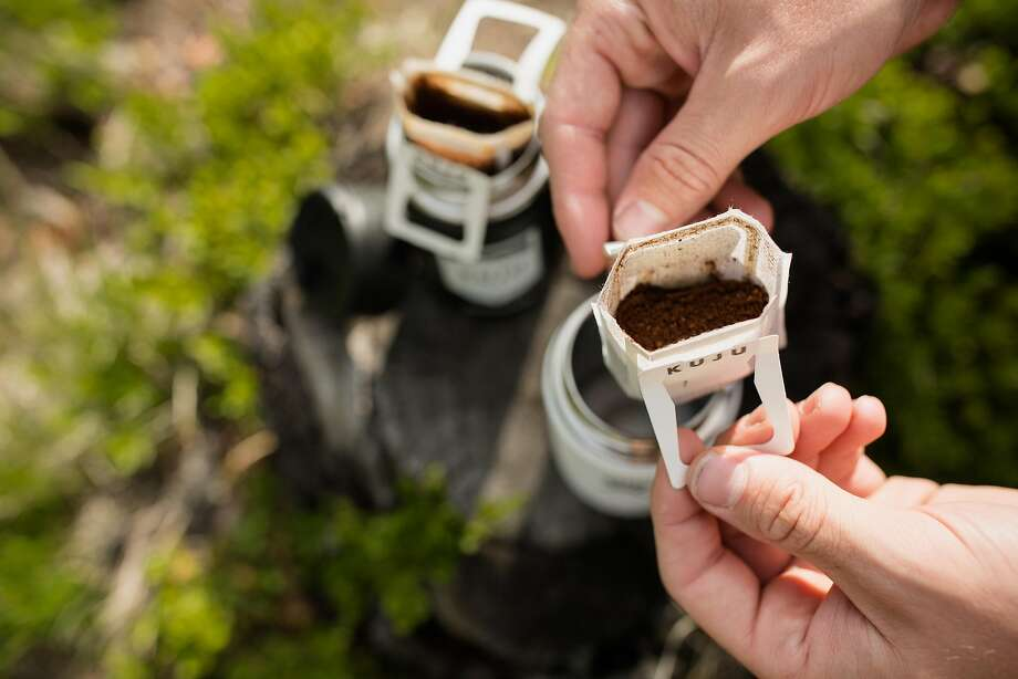 Kuju Coffee packets come with their own pre-filled filter that fits over a cup or an insulated mug. Photo: Courtesy Kuju Coffee