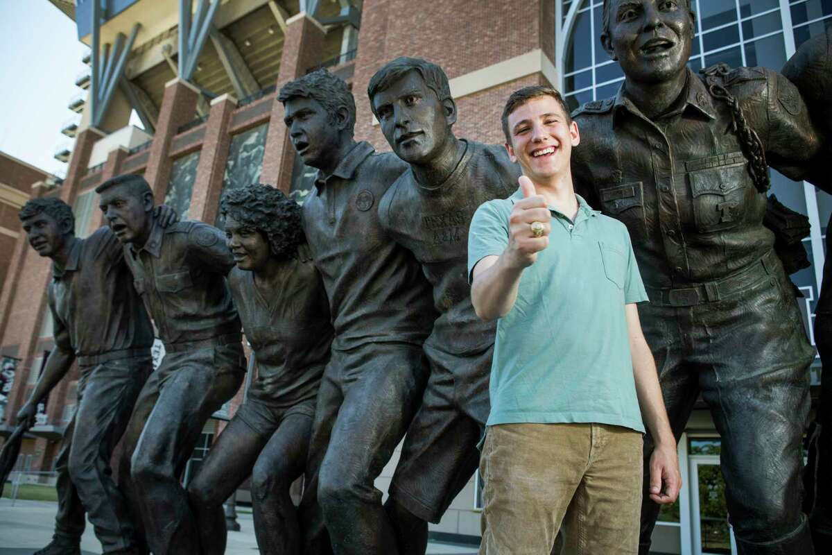 Texas A&M's newly-elected student body president Bobby Brooks, a junior from Belton, Texas, poses for a portrait in front of the War Hymn Monument on Monday, March 20, 2017, in Houston. ( Brett Coomer / Houston Chronicle )
