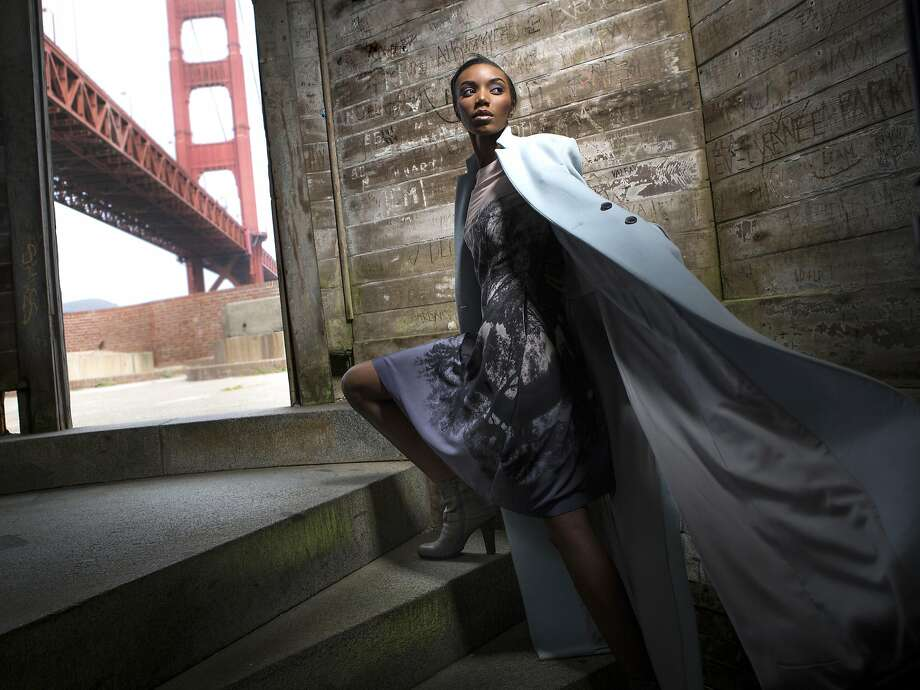 Model Venita channels a Hitchcock heroine in Style's 2015 fall fashion shoot at Fort Point. She wears a Wes Gordon coat and Stella McCartney dress. Photo: Russell Yip, The Chronicle