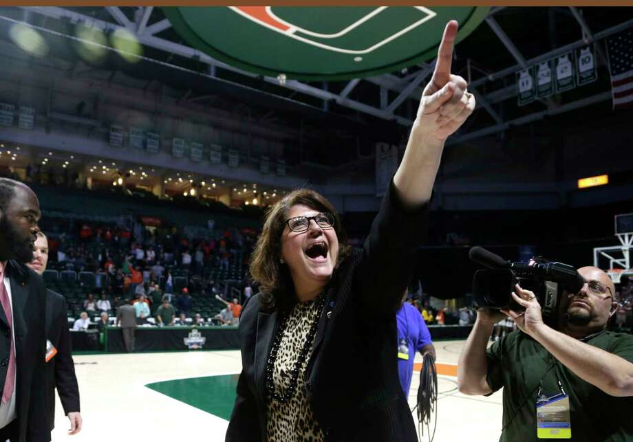Quinnipiac head coach Tricia Fabbri reacts after defeating Miami 85-78 in a second round game in the NCAA women's college basketball tournament, Monday, March 20, 2017, in Coral Gables, Fla. (AP Photo/Lynne Sladky) ORG XMIT: FLLS112 Photo: Lynne Sladky / Copyright 2017 The Associated Press. All rights reserved.