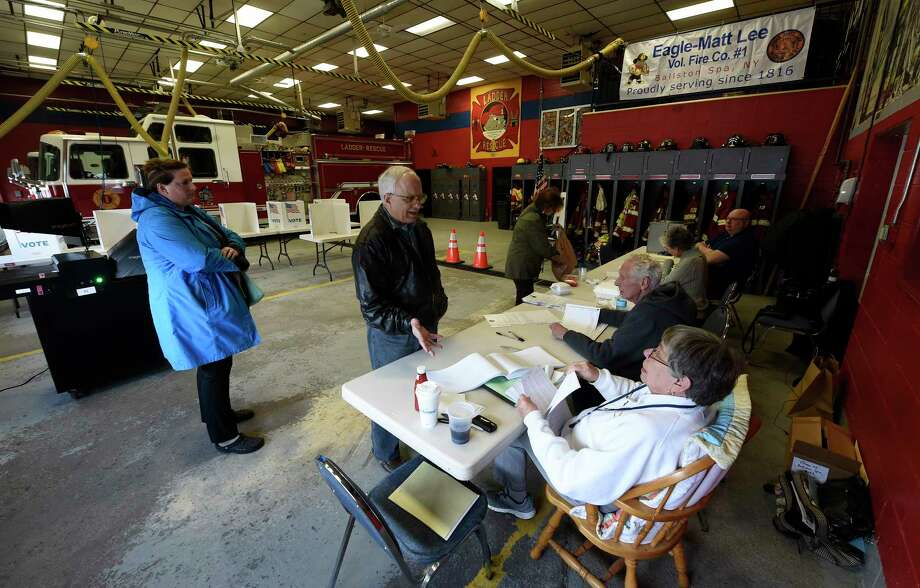 Village elections take place at the poling place at the Eagle-Matt Lee fire house Tuesday March 21, 2017 in Ballston Spa, N.Y. (Skip Dickstein/Times Union) Photo: SKIP DICKSTEIN / 20040012A