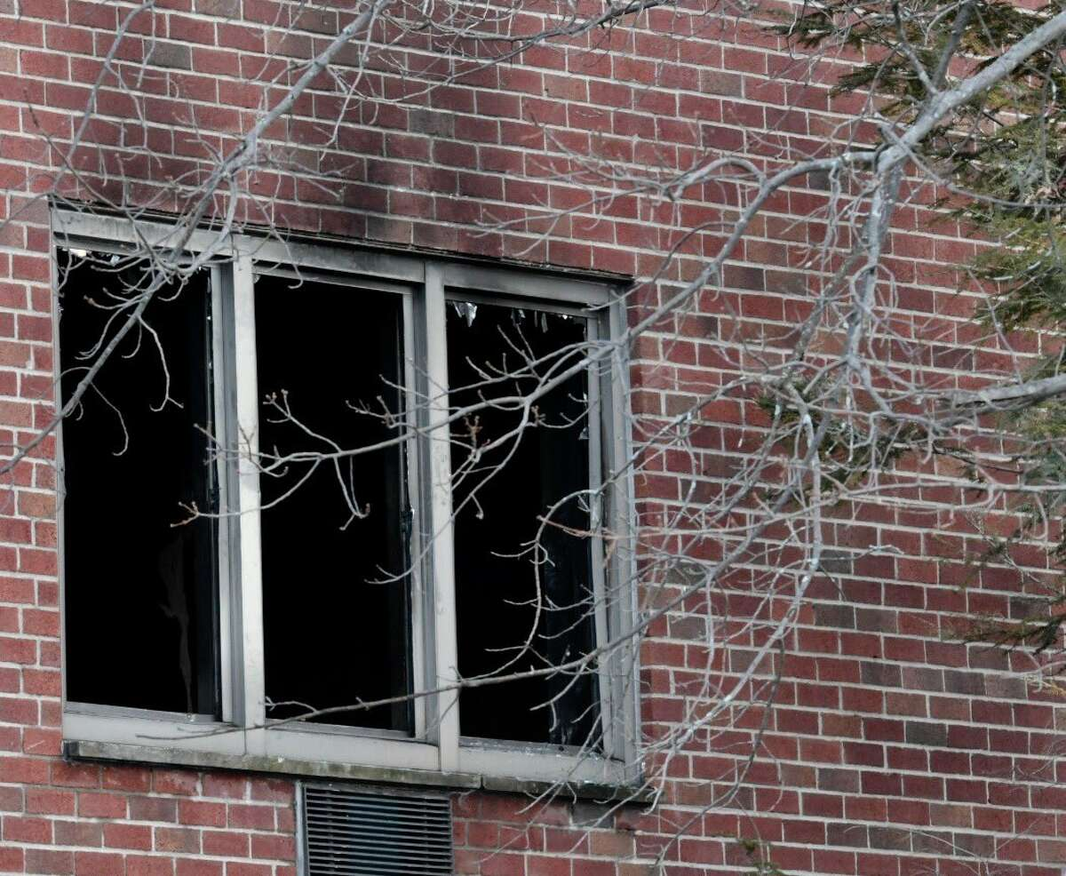 The scene on Wednesday, March 22, 2017, after a fire at Colonie Towne Towers sent three people to the hospital on Tuesday, March 21, 2017. (Skip Dickstein/Times Union)