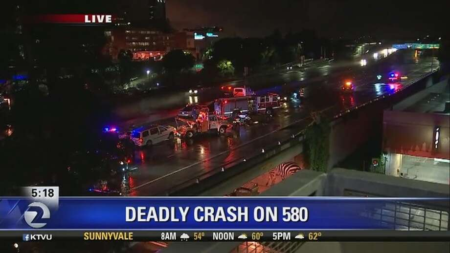 A pedestrian was hit by a car and killed on Interstate 580 in Oakland early Wednesday morning. Photo: KTVU