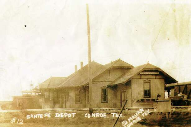 The old Conroe train depot near Ave. A and Pacific Street in downtown Conroe. Local officials were planning to use the building as a history museum before it burned in August 1981. The building was 60 years old when it burned and the volunteers later when on to establish the Heritage Museum of Montgomery County at Candy Cane Park with a donated home from the Grogan and Cochran families.