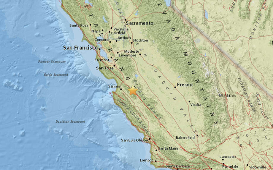 A magnitude 3.0 earthquake struck at 8:22 AM this morning 10 miles northerwest of Pinnacles, Calif. It was followed by a magnitude 2.5 aftershock 9 minutes later. Photo: USGS