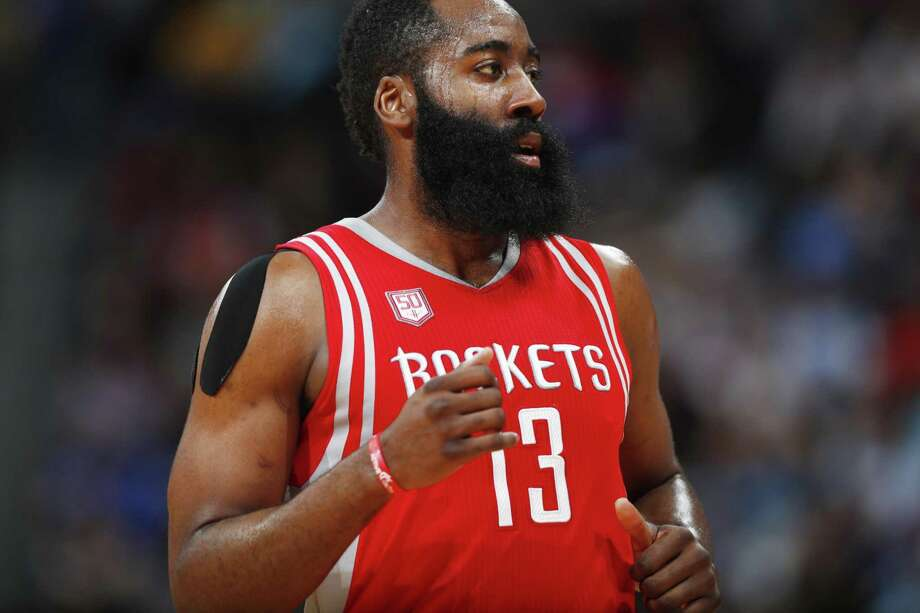 Houston Rockets guard James Harden runs down court in the second half against the Nuggets on March 18, 2017, in Denver. The Rockets won 109-105. Photo: David Zalubowski /Associated Press / AP