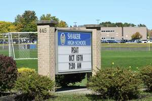 Shaker High School has proposed a student driver only lane leading into school on Friday Oct. 14, 2016 in Colonie, N.Y.  (Michael P. Farrell/Times Union)