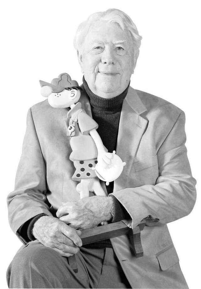 """Cartoonist Mort Walker with his """"buddy"""" Beetle Bailey  in Stamford, Conn. on Saturday, November 14,   2009. Photo: Kathleen O'Rourke, ST"""